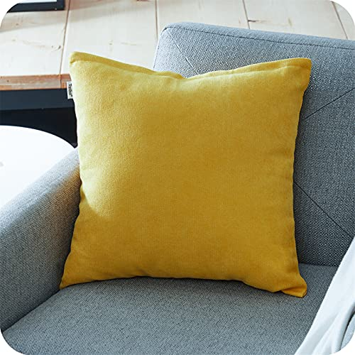 Topfinel Yellow Chenille Cushion Covers 32x32 Inch Soft Large Square Decorative Throw Pillowcases for Livingroom Sofa Bedroom 80cmx80cm,1 Piece