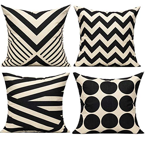 Geometric Black Stripes Decorative Throw Cushion Covers Accent Pillows Outdoor Suqare Polyester Linen 18x18 Inches for Sofa Paito Couch Bed Room