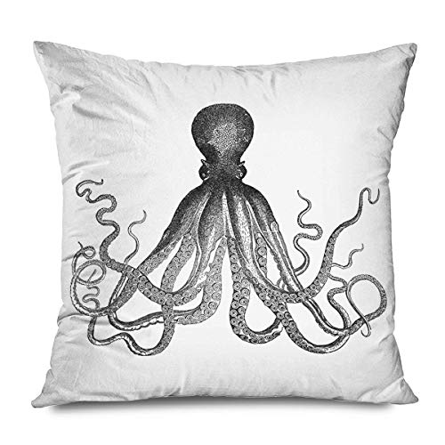 Animal Decorative Throw Pillows Cushion Cover for Bedroom Sofa Living Room Grey Open Claw Octopus Sketch Drawing Pillowcase 16 x 16 Inches