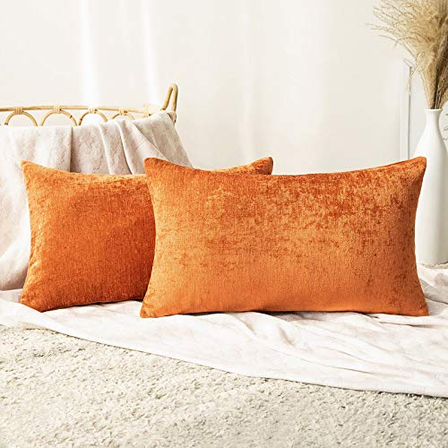 MIULEE Pack of 2 Chenille Cushion Covers Throw Pillow Case Decorative Rectangle Super Soft Square Home for Sofa Bedroom Decor with Invisible Zipper 12x20 inch 30x50 cm Orange