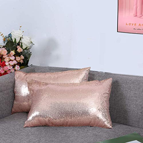 YW 3E Home Sequin Cushion Covers 2 pack,Decorative Throw Pillowcases for Sofa Livingroom with Invisible Zipper 12x20 Inches rose gold