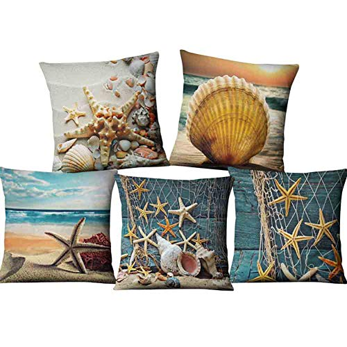 Nautical Navy Blue Cushion Covers 18 x 18 Inch Set of 5 Anchor Lighthouse Compass Decorative Throw Pillow Covers Cotton Linen Pillowcases for Sofa Couch Car Bedroom Home Décor, 45cm x 45cm (shellfish)