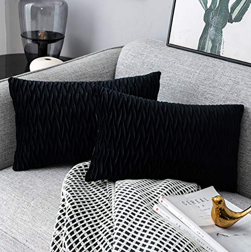 Yamonic Pack of 2 Cushion Cover Super Soft Velvet Pillow Covers Square Decorative Pillowcase for Sofa Bed Couch Bench, 12 x 20 inch, Black