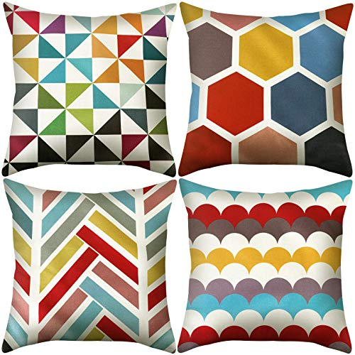 Manooby Cushion Covers 45 x 45cm, Throw Pillow Covers Square Linen Cushions Covers for Sofa Set of 4 Decorative Sofa Pillowcases 18 x 18 inch for Living Room, Bedroom, Couch