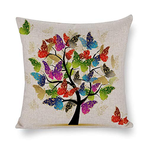 DKISEE Abstract Butterflies Tree Square Throw Pillow Case For Sofa Set Home Decorative Throw Pillow Case Cushion Cover Protector 14x14 Inch