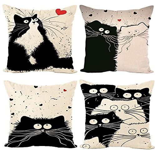 Freeas Set of 4 Cat Pillow Cases, Throw Cushion Cover Cotton Linen Pillowcase Home Decoration,45x45cm