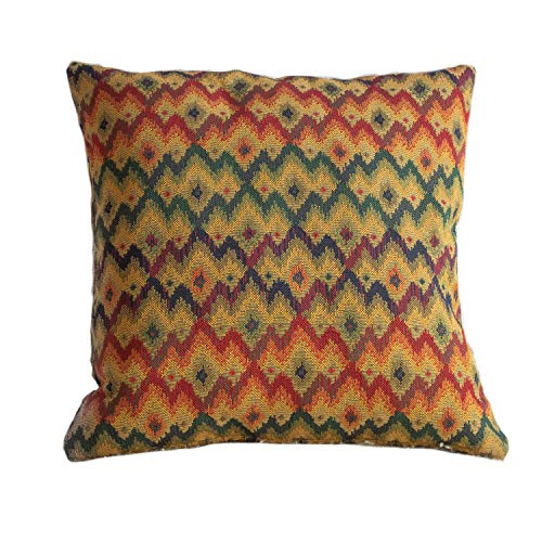 Traditional Tapestry Style Style Cushion Cover. 17' x 17' Square Cover. Heavyweight Woven Turkish Kilim Style Chevron Pattern.