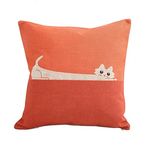 JeremyArtStore 18 x 18 Inches Decorative Cotton Linen Square Throw Pillow Case Cushion Cover Orange Cat Design