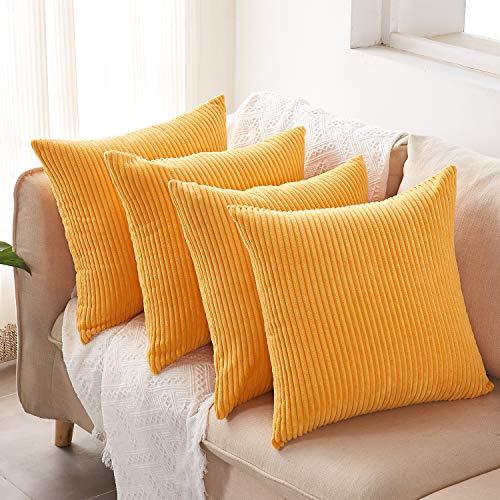 4 Pack Corduroy Cushion Covers 16 X 16' (40 X 40 CM), Square Decorative Throw Pillowcases for Livingroom Sofa or Bedroom, Orange