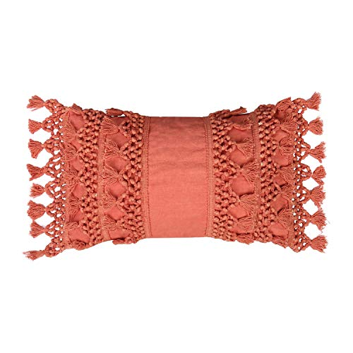 RAJRANG BRINGING RAJASTHAN TO YOU Boho Cushion Covers - Tassels Pillow Case Decorative Coral Woven Throw Pillow Covers for Sofa Couch Bedroom Living Room, Woven Tufted 50x30 cm