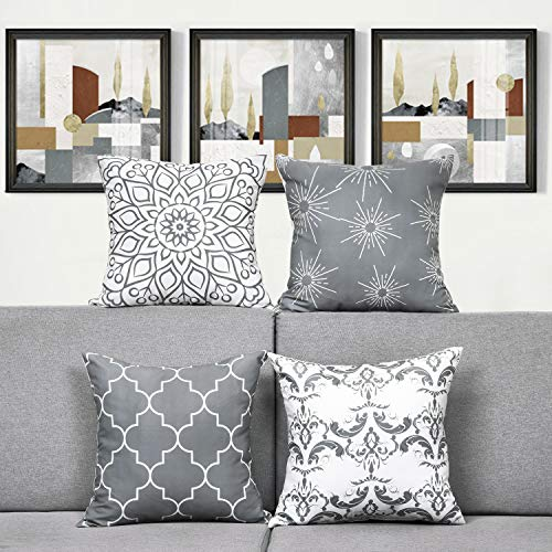 Alishomtll Geometric Pillowcases Cushion Covers 22x22 Inches Soft Plush Throw Pillow Covers 55 x 55cm Polyester for Sofa Bedroom Set of 4pcs, Grey