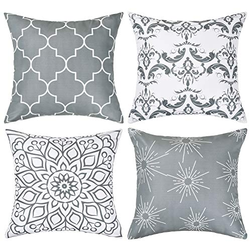 Alishomtll Geometric Pillowcases Cushion Covers 16x16 Inches Soft Plush Throw Pillow Covers 40cm x 40cm Polyester for Sofa Bedroom Garden Set of 4pcs, Grey