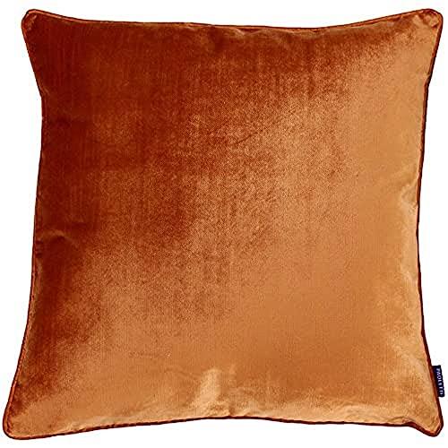 Riva Paoletti Luxe Velvet Cushion Cover - Rust Orange - Soft Velvet Feel Fabric - Reversible - Hidden Zip Closure - Machine Washable - 100% Polyester - 55 x 55cm (22' x 22' inches)