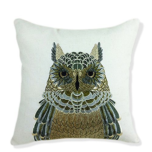 """ZUODU Embroidered Owl Cotton Linen Decorative Throw Pillow Cover Cushion Case Pillow Case18X18"""" or 45cmx45cm (Insect- Owl)(Insect- Owl)"""