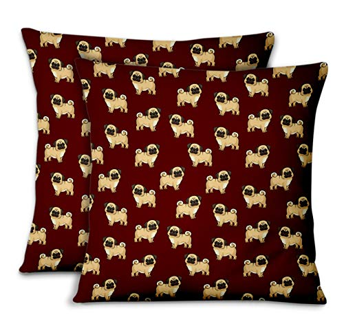 S4Sassy Red Velvet Puppy Designer Bed Room Pillow Cases Cushion Cover Throw For Home 2Pcs-14 x 14 Inches