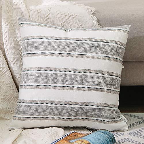 Natus Weaver Stripe Pillow Cases Soft Linen Square Decorative Throw Cushion Cover Pillowcase with hidden Zipper for Car Sofa Baby 66 x 66 cm, 26' x 26'
