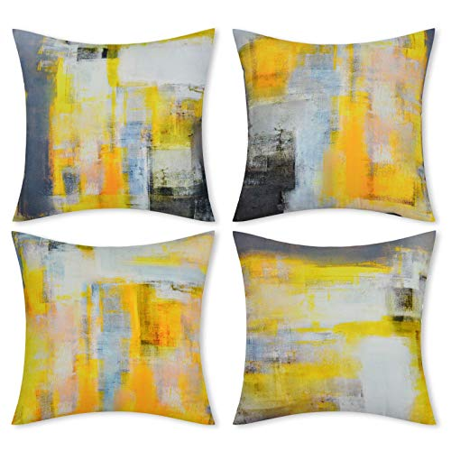 LighSele Throw Pillow Covers, Set of 4 Cushion Covers Grey and Yellow Modern Abstract Art Artwork Home Decorative Pillows Covers with Hidden Zipper for Sofa Bed Living Room Bedroom (18' x 18')