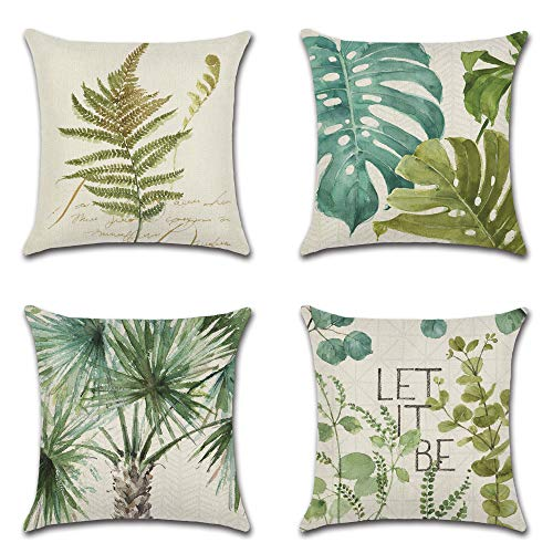 A/R 4 PCS Tropical Palm Leaves Plant Printed Cotton Linen Throw Pillow Covers, for Home Sofa Bed Car Decor18 x 18 inches, 45 x 45 cm