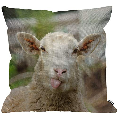 HGOD DESIGNS Cushion Cover Sheep Funny Sheep Portrait of Sheep Showing Tongue Throw Pillow Cover Home Decorative for Men/Women/Boys/Girls Living Room Bedroom Sofa Chair 18X18 Inch Pillowcase
