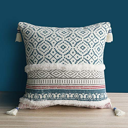 Dremisland Morocco Tufted Boho Pillow Covers - Square Throw Pillow Cases Woven Pillowcase Soft Cushion Cover for Sofa Couch Bedroom Car Living Room with Invisible Zipper 45x45cm(Blue)