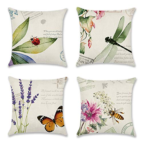 Artscope Decorative Soft Polyester Linen Cushion Covers for Sofa Car 45 x 45 cm Square Throw Pillow Covers Pillowcases with Invisible Zipper 4 Pack (Dragonfly/Butterfly)