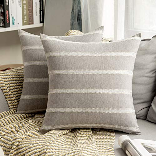 MIULEE Striped Cushion Cover Flax Linen Lace Decorative Pillow Cases Square Soft Resistant Home for Sofa Bedroom Living Room Pack of Two 20 x 20 Inch 50 x 50 Cm Light-grey
