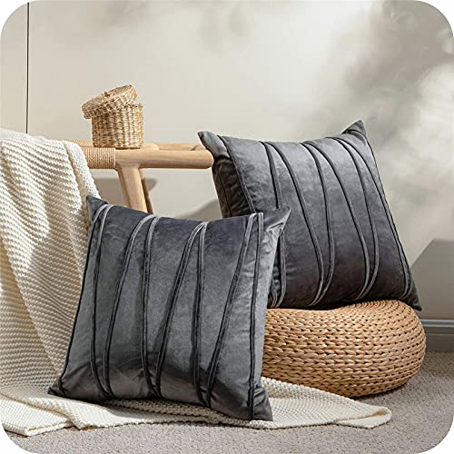 Topfinel Velvet Dark Grey Small Cushion Covers Soft Decorative Square Throw Pillow Cases Stripe Design For Livingroom Sofa Bedroom with Invisible Zipper 14x14 Inches, 35cmx35cm, Pack of 2