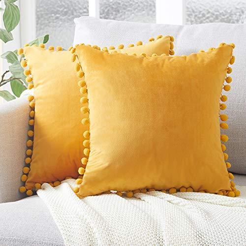 Topfinel Gold Small Velvet Cushion Covers 14x14 Inch Square Decorative Throw Pillowcases for Livingroom Sofa Bedroom 35cmx35cm,Pack of 2