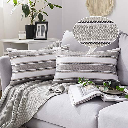 MIULEE Faux Linen Cushion Cover Stripe Square Throw Pillow Case Home for Sofa Chair Couch Bedroom Decorative Pillowcase 30 x 50 cm 12 x 20 inch 2 Pieces Grey