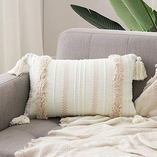 MIULEE Tasseled Cushion Covers Bohemian Indian Embroidered Decorative Square Throw Pillow Case Pillowcases for Couch Livingroom Sofa Bed with Invisible Zipper 12 x 20 inch 30 x 50cm