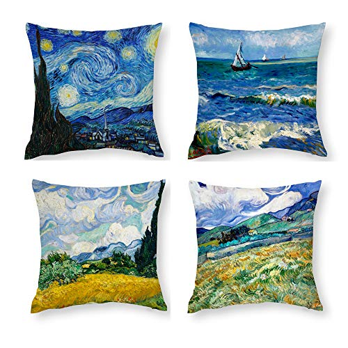 HOSTECCO Vincent Van Gogh Cushion Covers Pack of 4 Abstract Pillow Covers Square Decorative Pillow Cases for Sofa Couch Bed 45x45 cm