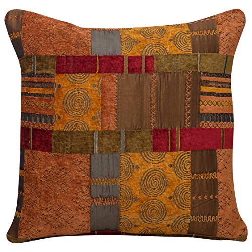 Moroccan Style Patchwork Cushion Cover. Double Sided. 17x17' Square Pillowcase. Rich red chenille, ethnic terracotta burnt orange faux sulk, tribal green. Heavyweight fabric. Handmade in the UK.