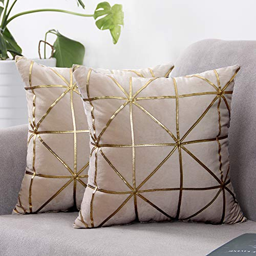 SUNBEAUTY Throw Pillow Covers Beige Velvet Cushion Cover Modern Soft Decorative Square Pillowcases 2 Pack for Couch Living Room Sofa Bedroom(43cm x 43cm)