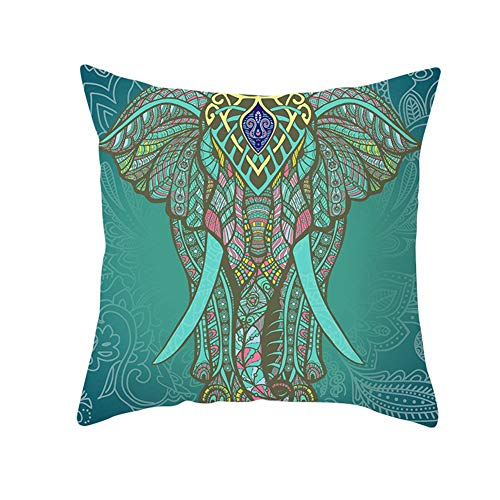 Cushion Cover Pillow Cases Square Green Colorful Elephant Cushion Covers Pillow Protectors Cotton Linen/Peach velvet Throw Pillow with Living Room Chair Sofa Bedroom Bed Decor Throw Pillowcase 50x50cm