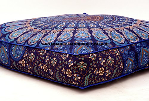 Handicraft-Palace Indian Square Floor Cushion Cover Peacock Boho Mandala Ottoman Pillow Shams Pouf Cases Oversize Daybed Large Outddor Bed SOLD