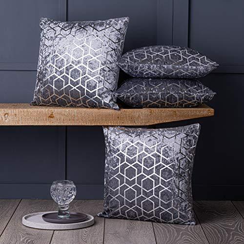 Red Rainbow Luxury Metallic Grey Crushed Velvet Geometric Cushion Covers, 18' x 18', Set of 4