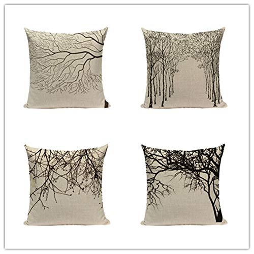 HYOOPL Cushion Covers 35x35cm 14x14 Inch Square Throw Pillow Case set of 4,Linen Cotton with Invisible Zipper Decorative Cushion Covers for Sofa Bedroom, Black and White Tree A3131
