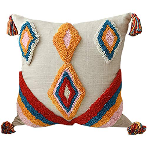 Casinlog Cushion Cover Tassels Boho Style Ethnic Pillow Cover Handmade Moroccan Style 45X45cm A