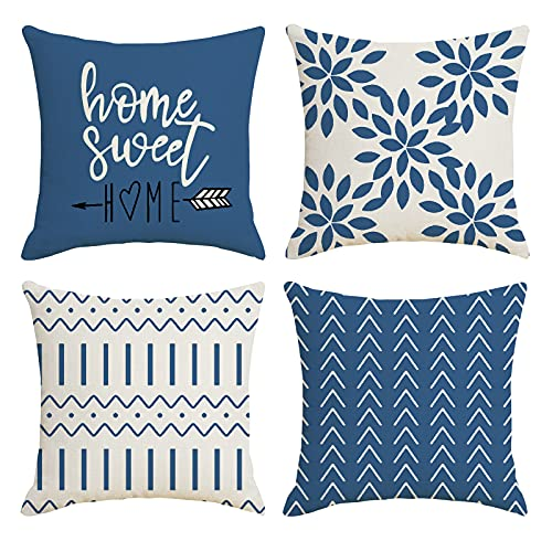 YCOLL Cushion Covers 18x18 Inch, Set of 4 Pillow Covers Pillow Case Cushion Covers for Sofa Outdoor Garden Bed Couch Cushions 18'x18'45cmx45cm(Set of 4 )