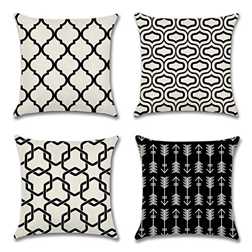 Artscope Set of 4 Soft Polyester Linen Cushion Covers Simple Geometric Style Throw Pillow Covers Pillowcase for Sofa Car Home Decor 45 x 45 cm (Black)