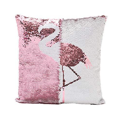 "Magic Double Colors Reversible Sequin flamingo pillows cover Mermaid Lumbar pillow Glitter Sofa Throw Cushion cover(15.7 * 15.7"" 40 * 40cm) (Flamingo)"