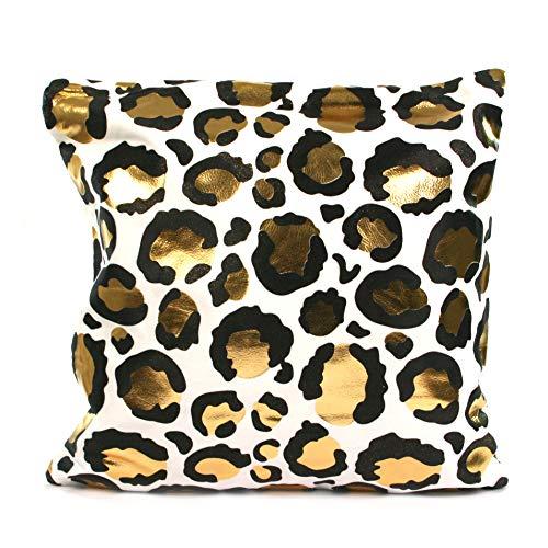 Black Ginger Velvet feel cushion cover and insert cushion with Leopard Print Foil Pattern