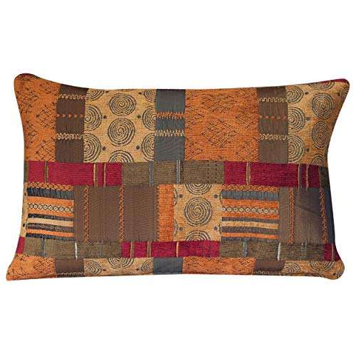 Linen Loft Moroccan Style Patchwork XL Rectangular Cushion Cover. Double Sided. 23x15 Pillowcase. Rich red chenille, ethnic terracotta burnt orange faux sulk, tribal green. Heavyweight fabric.