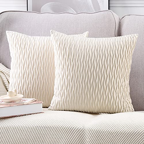 Madizz Pack of 2 Super Soft Velvet Decorative Throw Pillow Covers with Texture Luxury Style Cushion Case Pillow Shell for Sofa Bedroom Square White 14x14 inch