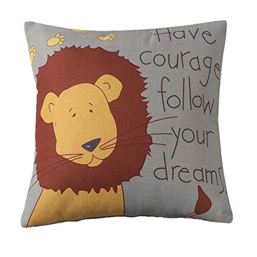 MF Square 18' Cartoon Animal Cushion Cover Cotton Linen Animals Pillowcase Car Home Decor Chair Sofa Seat (Lion)