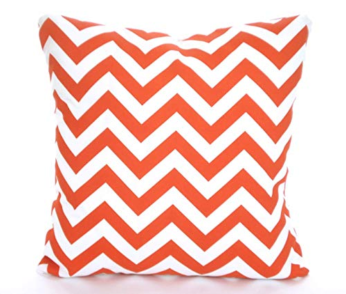 Toll2452 OUTDOOR Orange Pillow Covers Throw Pillows Cushions Orange White Zig Zag Beach Decor Patio Pillows Sun Room