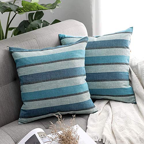MIULEE Linen Cushion Covers Stripe Throw Pillow Case Square Coastal Home for Sofa Chair Couch Livingroom Bedroom Neutral Decorative Pillowcase 16x16inch 40x40cm Pack of 2 Blue