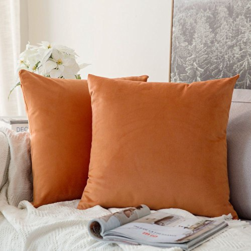 Miulee Decorative Velvet Cushion Covers 45cm x 45cm/Square Throw Pillowcases for Sofa Bedroom with Invisible Zipper 18x18 Inch Orange Sets of Two