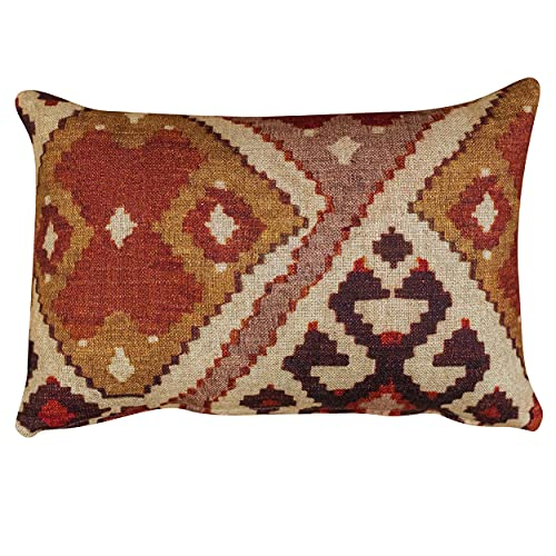 Terracotta Kilim Turkish Style Printed Boudoir Filled Cushion. Soft All-Natural Linen-Blend Cloth in Terracotta and Burnt Orange. 17x12' Rectangle Pillow (Synthetic Filled)