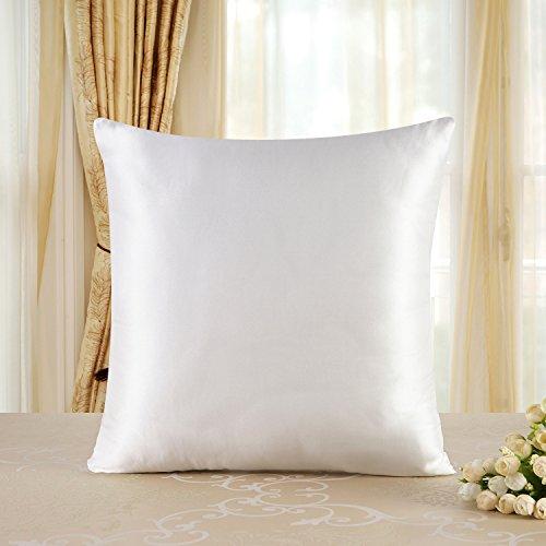 townssilk Both Side 100% 19mm Silk Pillowcase 80x80cm Pillow Case Cushion Cover with Hidden Zipper Naturalwhite